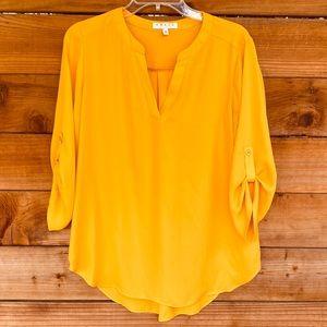 Chaus mustard sheer flowy blouse